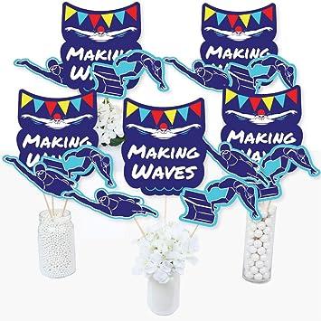 Making Waves – Equipo de natación – Palos de centro de mesa para fiesta de natación o fiesta de cumpleaños – Juego de 15: Amazon.es: Juguetes y juegos