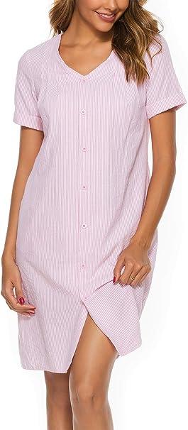ABirdon Camisón Mujer Algodón Manga Corta con Botones Pijama Comodo Dormir Cuello en V de Camisones: Amazon.es: Ropa y accesorios