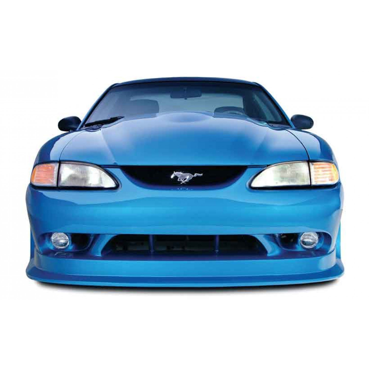 Ford mustang 1994 1998 cobra r style 1 piece polyurethane front bumper manufactured by kbd body kits extremely durable easy installation guaranteed