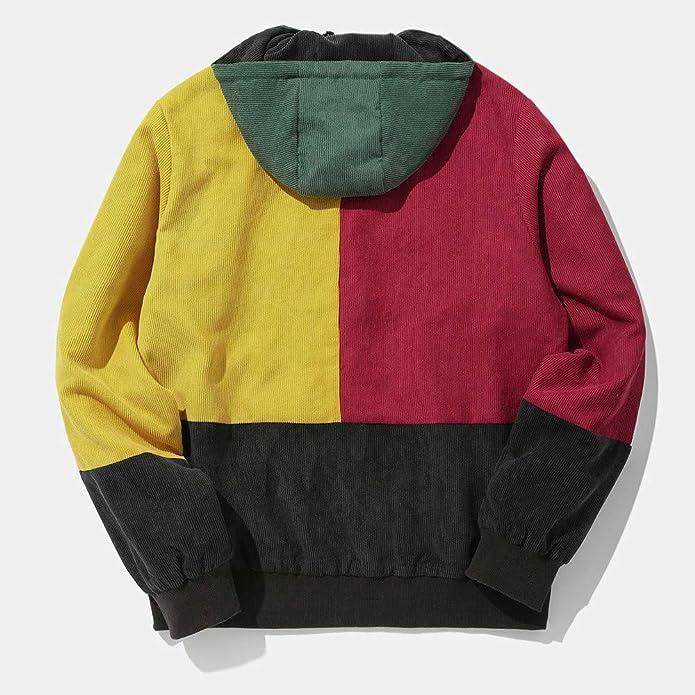 zarupeng Abrigo de Chaqueta Con Capucha de Pana de Patchwork Color Block Pana de Los Hombres: Amazon.es: Zapatos y complementos