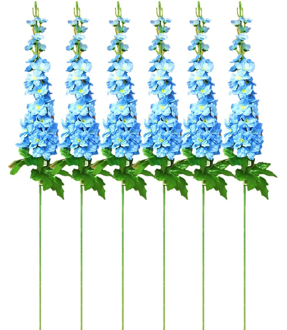 Amazon Silk Flower Garden Set Of 6 Stems Artificial Delphinium