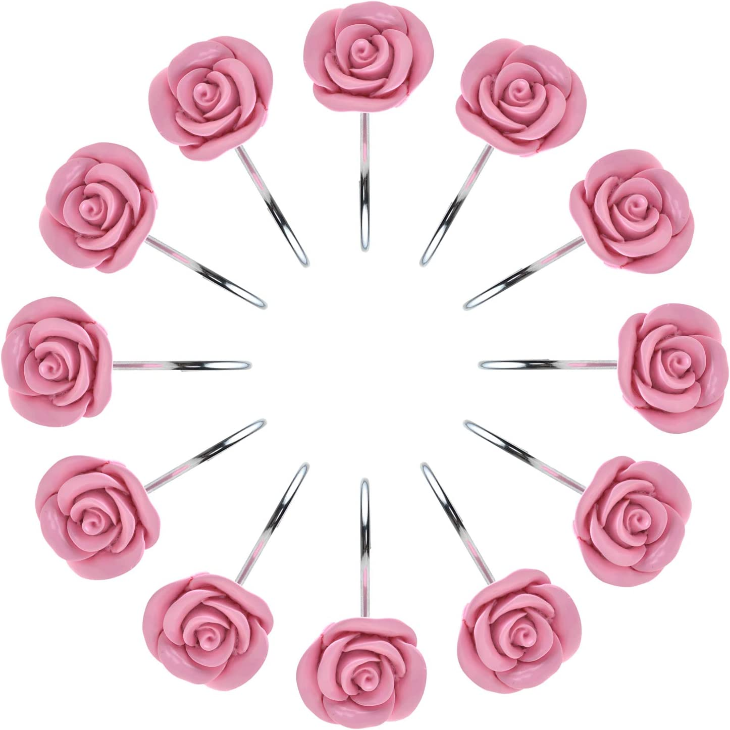 AGPTEK Shower Curtain Hooks, 12PCS Anti Rust Decorative Resin Hooks for Bathroom, Baby Room, Bedroom, Living Room Decor (Pink Rose)