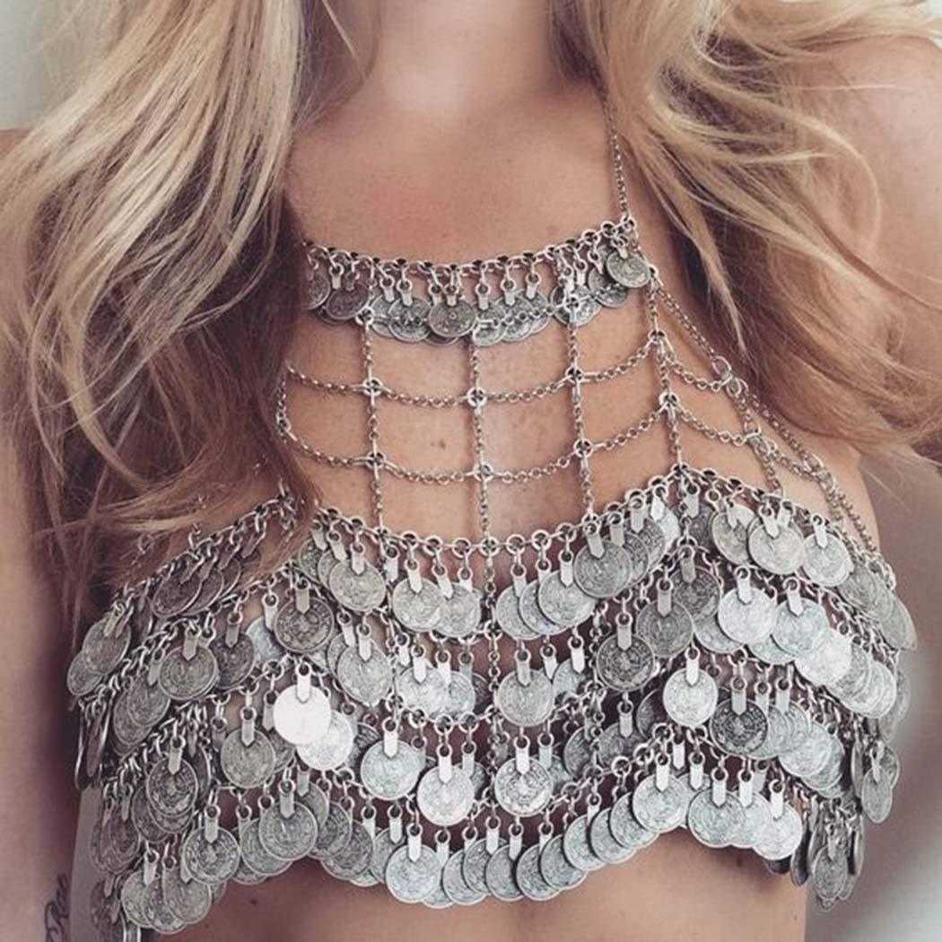 Nicute Boho Coins Body Chain Silver Bikini Bra Chains Sexy Body Jewelry for Women and Girls