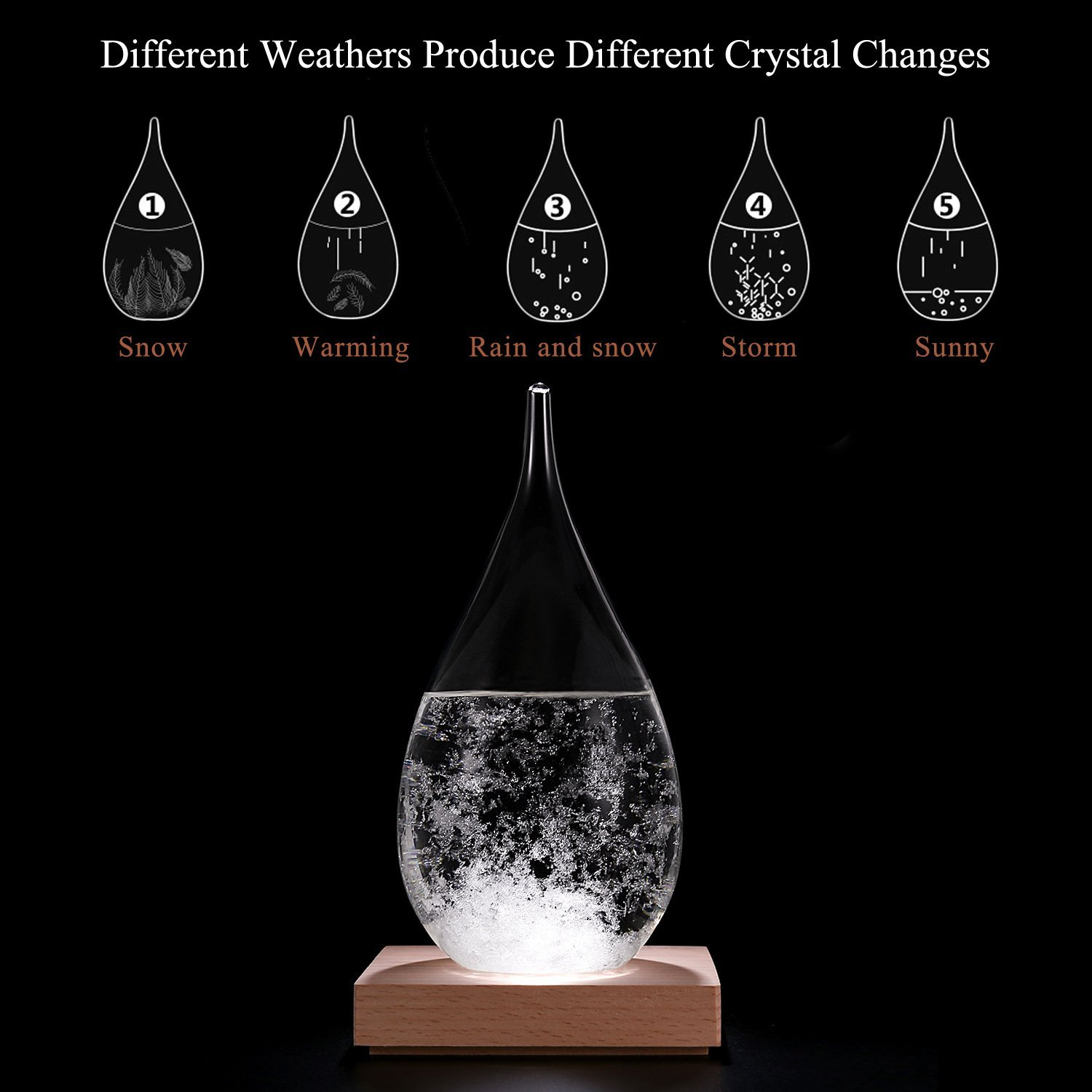 meisou Storm Glass Weather Predictor Ornament Display Weather Forecast Bottle Drop with Stand Barometer Thermometer Decoration Craft Gift
