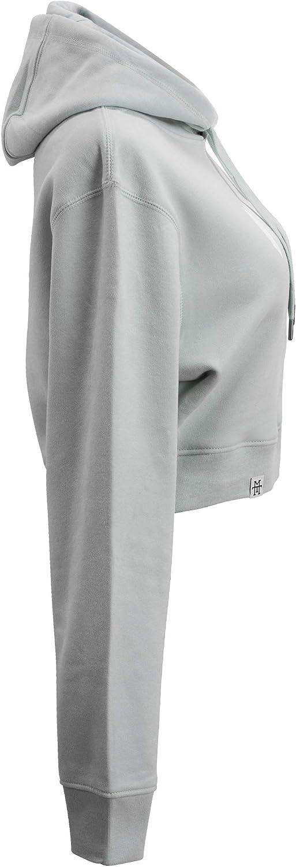 Manufaktur13 Oversize Crop Hoodie - Kapuzenpullover, Cropped Sweatshirt/Langarmshirt, Crop-Top Pullover für Damen/Frauen/Mädchen, bauchfrei, Kordeln aus Metall, Bolero (M13) Mint