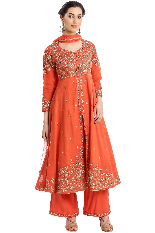 BIBA Women's Front Open Poly Cotton Suit Set 36 Orange