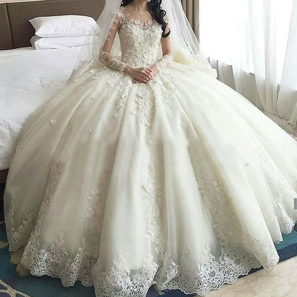 JoyVany Women Tulle Beading Wedding Dress Long 2018 Formal Ball Gowns with Sleeves JV703