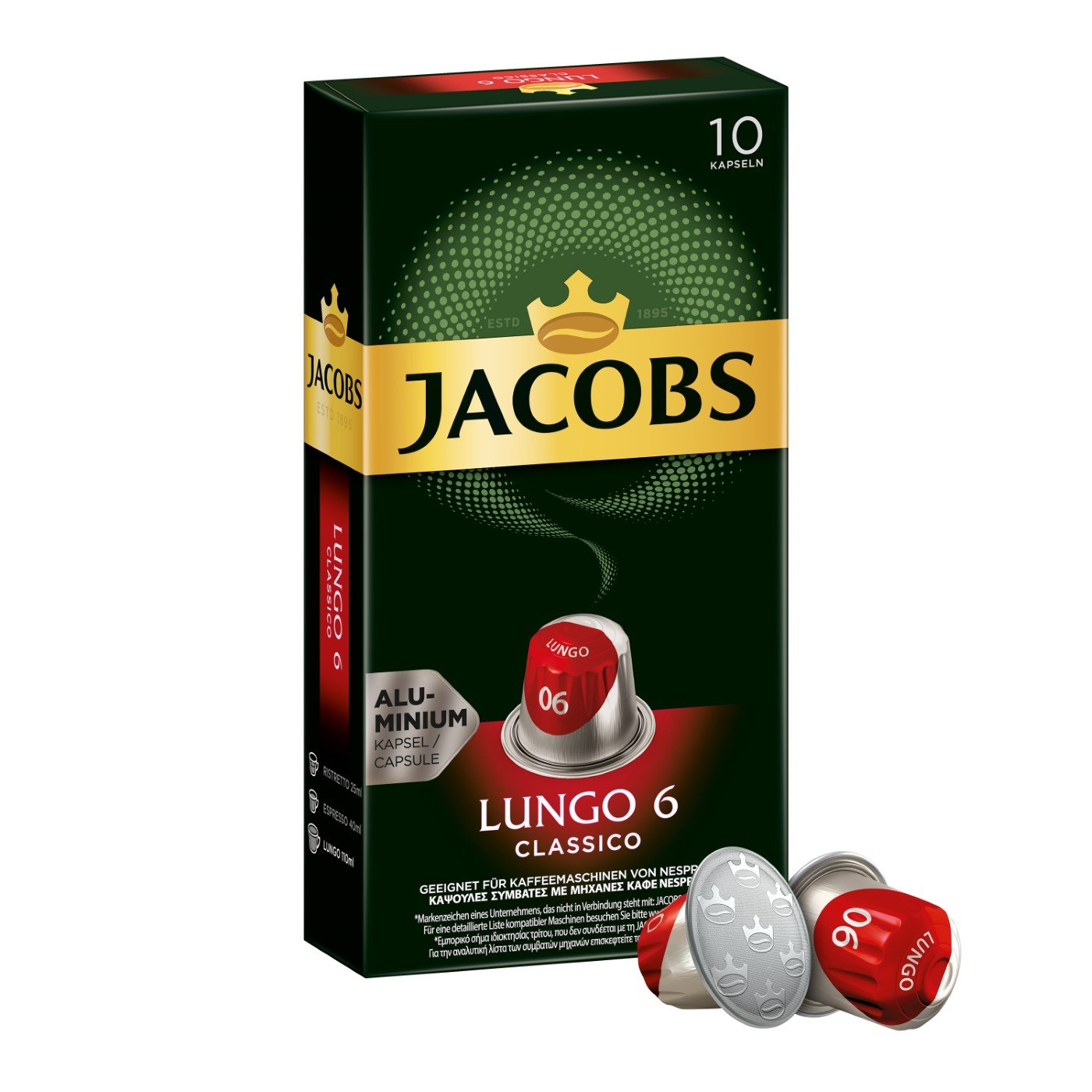 Jacobs Kapseln Lungo Classico - Intensität 6-50 Nespresso (R)* kompatible Kaffeekapseln aus Aluminium (5 x 10 Kapseln)