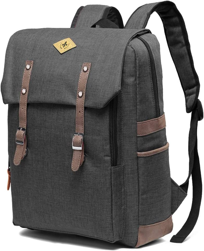 WOMACO Vintage Travel Laptop Backpack Daypack Water-Repellent Comeputer Bag for Women Men – Fits 15.6 Inch Laptop Dark Gray