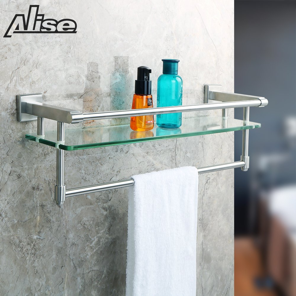 Alise SUS 304 Stainless Steel Bathroom Shelf with Towel Bar/ Rail ...
