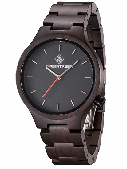 De Madera Relojes Greentreen Hechos Estilo Unisex A Negro Mano R5j34ALScq