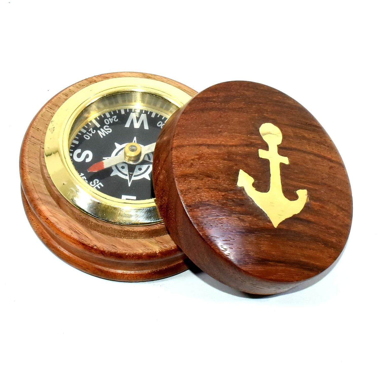 木製Squireボックスヴィンテージアンティーク真鍮コンパス航海アンカーギフト。。。。askre589 B07CVYYR5X