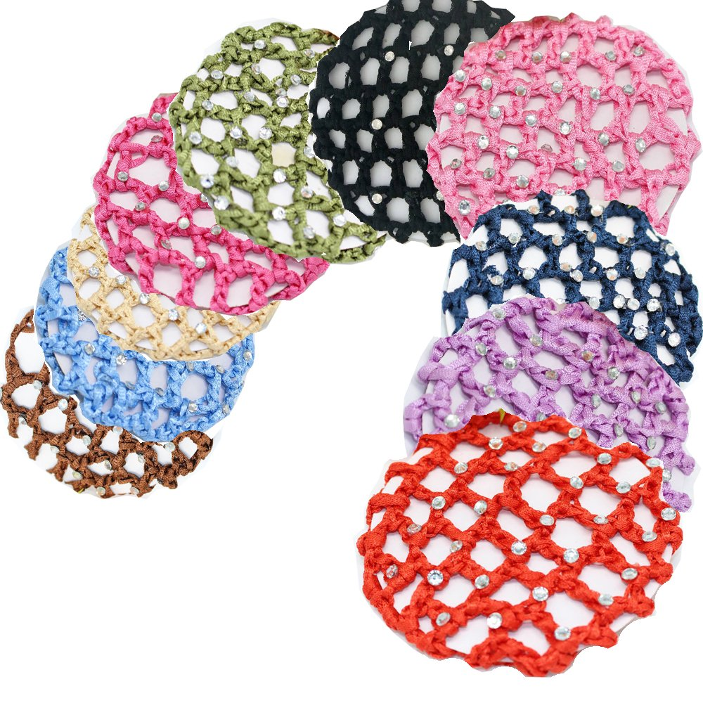 10pcs Women Hair Bun Cover Snoods Hair Net Ballet Dance Chic Crochet