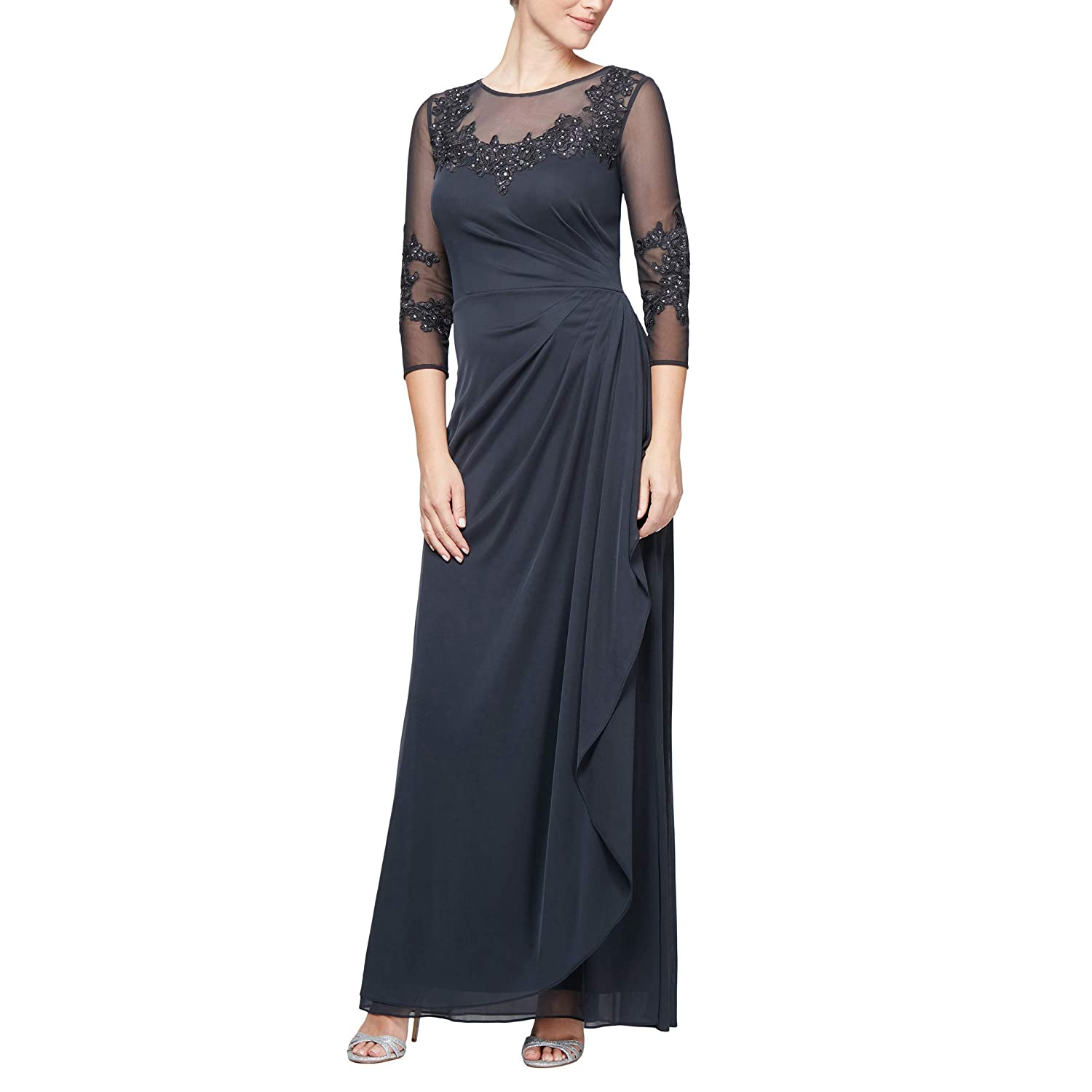 6e4b8cfa84 Top1: Alex Evenings Women's Long a-Line Dress with Sleeves (Petite and  Regular Sizes)