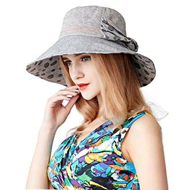 2b83e5c0 AHAHA Women Sun Hats Linen Bucket Summer Hat Foldable Beach Cap Wide Brim  Cap for Ladies