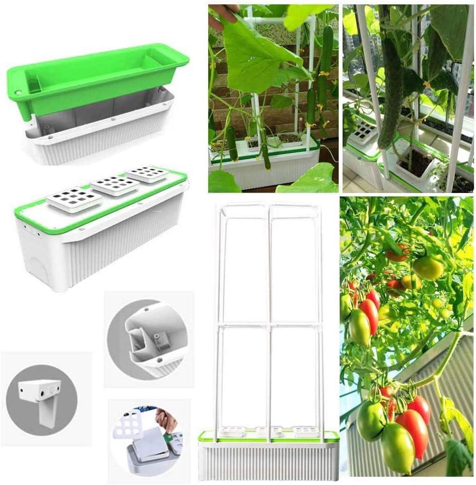 LSHOME Inteligente Interior Jardín hidropónico Super Hydroponics Herb Garden con riego automático para Verduras Flores Frutas trepadoras Grandes Bomba incorporada Plus 40in Climbing Trellis