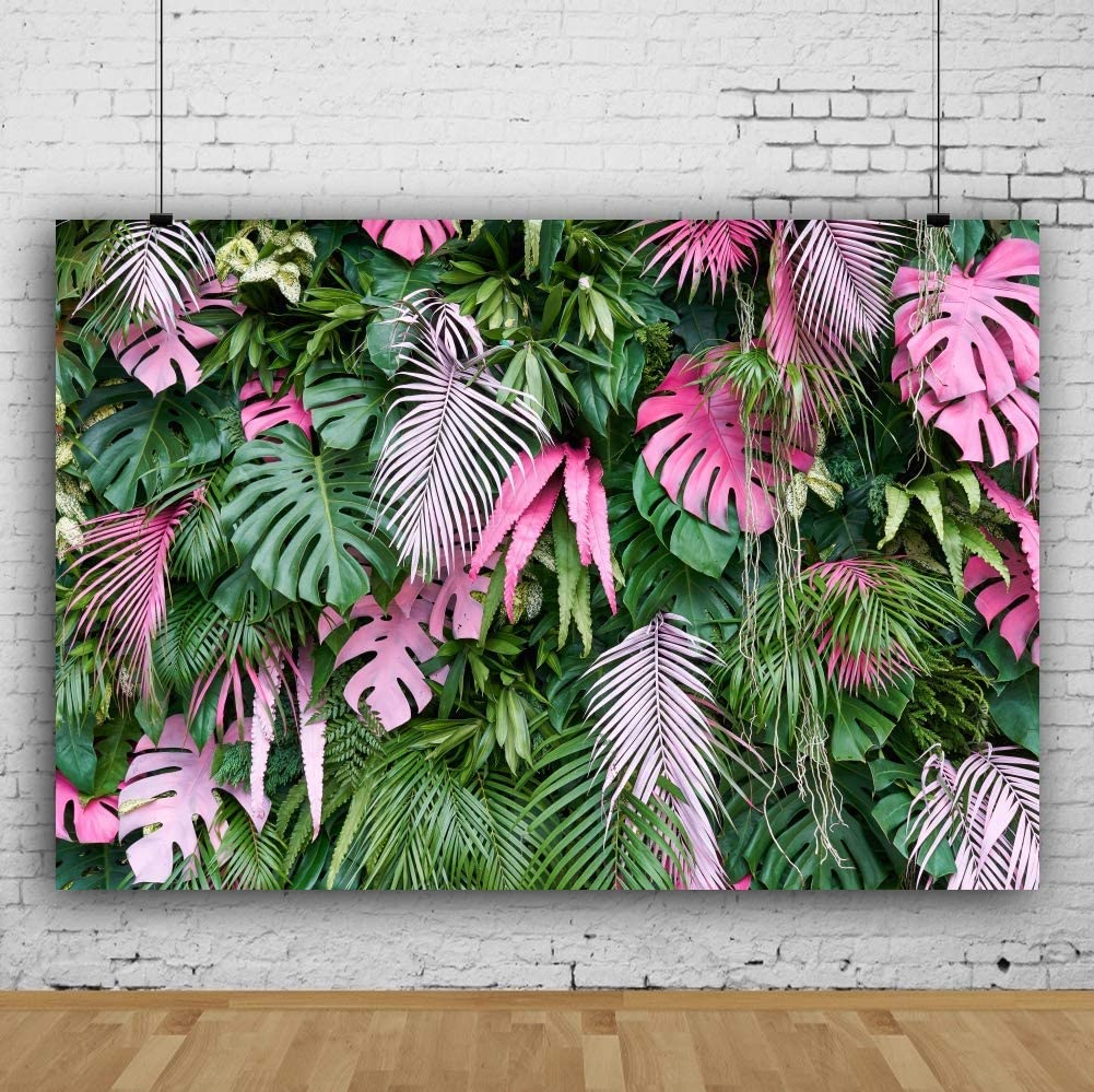 7x5ft Green Pink Tropical Leaves Layout Polyester Photography Background Spring Scenic Botanic Backdrop Wedding Photo Shoot Summer Party Wallpaper Exotic Studio Props