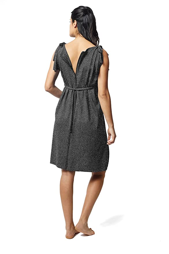 be3547b00803 Amazon.com: Pretty Pushers Butterfly Sleeve Maternity/Labor/Nursing Dress  One Size (2-16 pre-Pregnancy) Charcoal Grey: Clothing