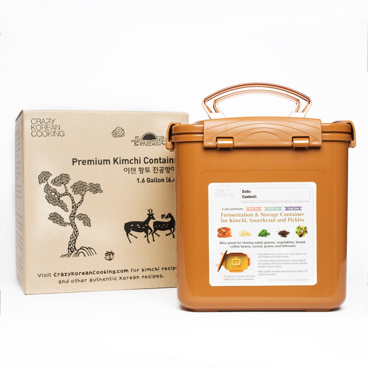 Premium Kimchi, Sauerkraut Fermentation and Storage Container with Inner Vacuum Lid, Sandy Brown - 1.6 Gallon (6.4L)