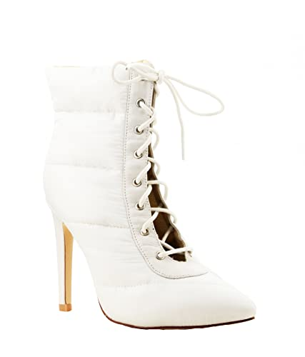 Gigi-135 Winter White Lace Up Pointed Pointy Toe Puffer Ankle Bootie