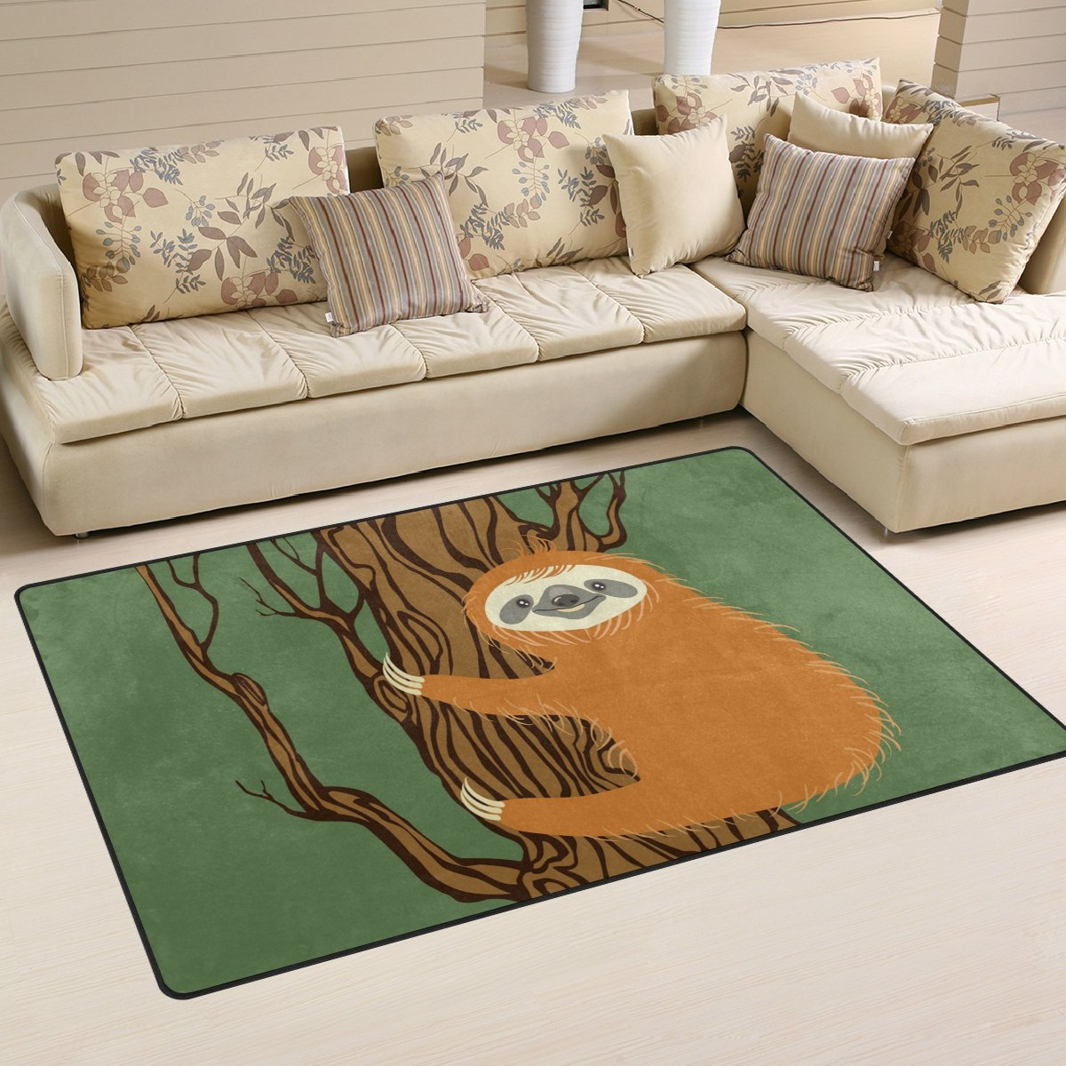 Yochoice Non-slip Area Rugs Home Decor, Cute Funny Cartoon Sloth Animal Floor Mat Living Room Bedroom Carpets Doormats 60 x 39 inches