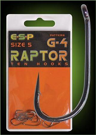 new Pack Of 10 Size 4 ESP Raptor G-4 Barbed Hooks