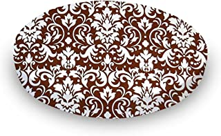 product image for SheetWorld Round Crib Sheets - Brown Damask - Made In USA