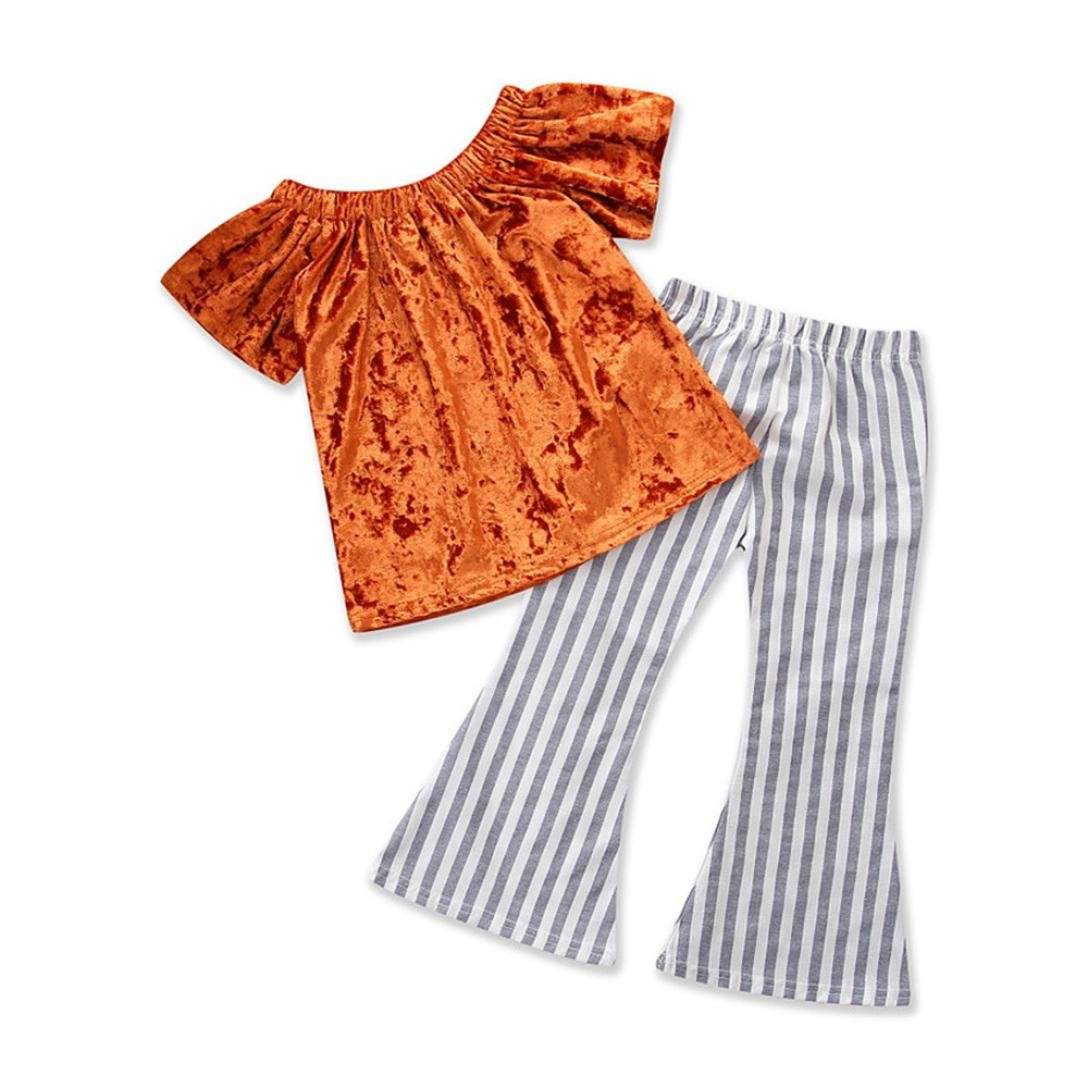 CSSD Children Kids Casual Outfits Clothes, Solid Off Shoulder Tops+Striped Wave Pants (4T, Orange)