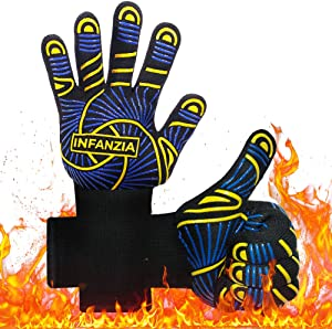 INFANZIA BBQ Gloves,Grill Grilling Barbecue Gloves for Smoker,1472℉ Extreme Heat Resistant,Food Grade Kitchen Oven Gloves,Silicone Non-Slip Cooking Gloves for Baking, Welding, Cutting,14 Inch,1 Pair