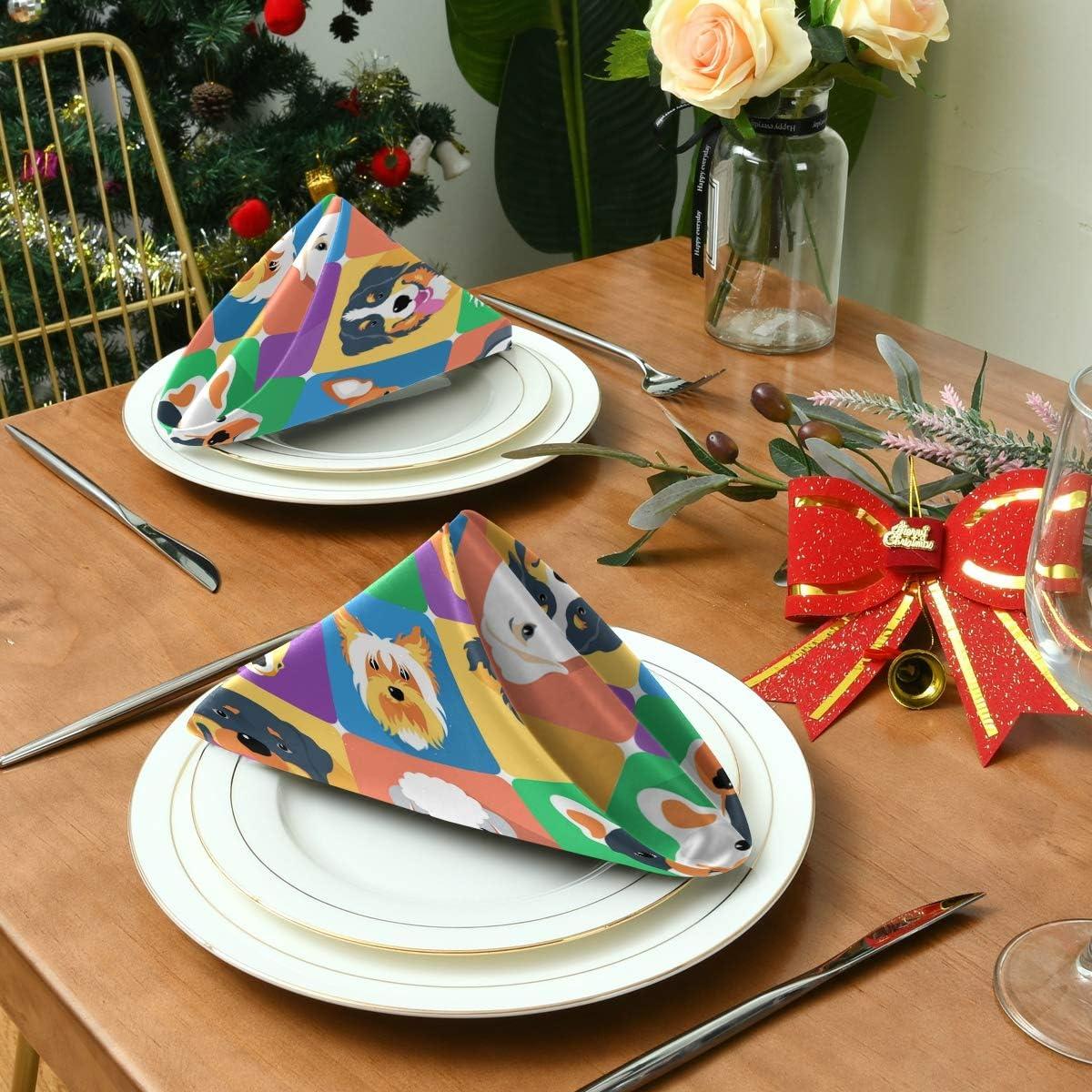 Funnyy Serviettes de table r/éutilisables en satin Motif chiens color/és