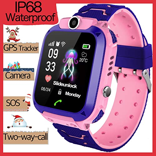 Waterproof Kid Smartwatch Phone GPS Tracker for 3-12 Years Old Boy Girls Two-Way Call SOS Anti-Lost SIM Card Slot Touch Screen Game Camera Kid Wrist Watch Holiday Birthday Gift