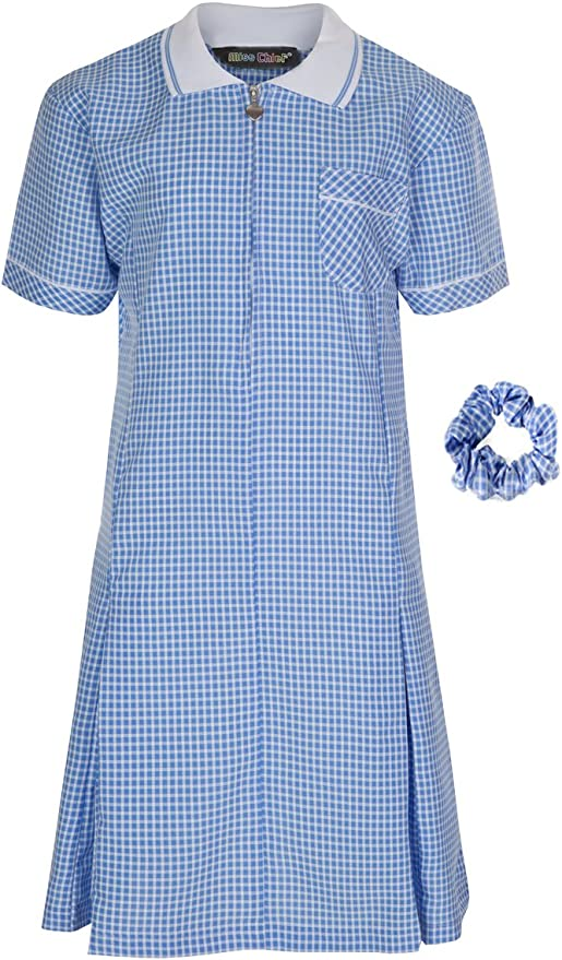 Red Blue from UK Yellow Green Cotton//Polyester Purple Gingham School Dress