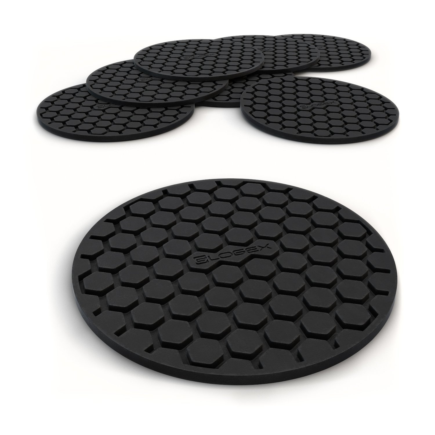 Glogex Black Silicone Drink Coaster Set of 8, Prevents Furniture and Tabletop Damages, Absorbs Spills and Condensation