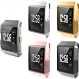 [5-Pack] Fitbit Ionic Screen Protector Case, JZK Scratch-Resistant Flexible Lightweight Plated TPU Fullbody Protective Case for Fitbit Ionic Smart Watch,Black+Clear+Gold+Pink+Silver