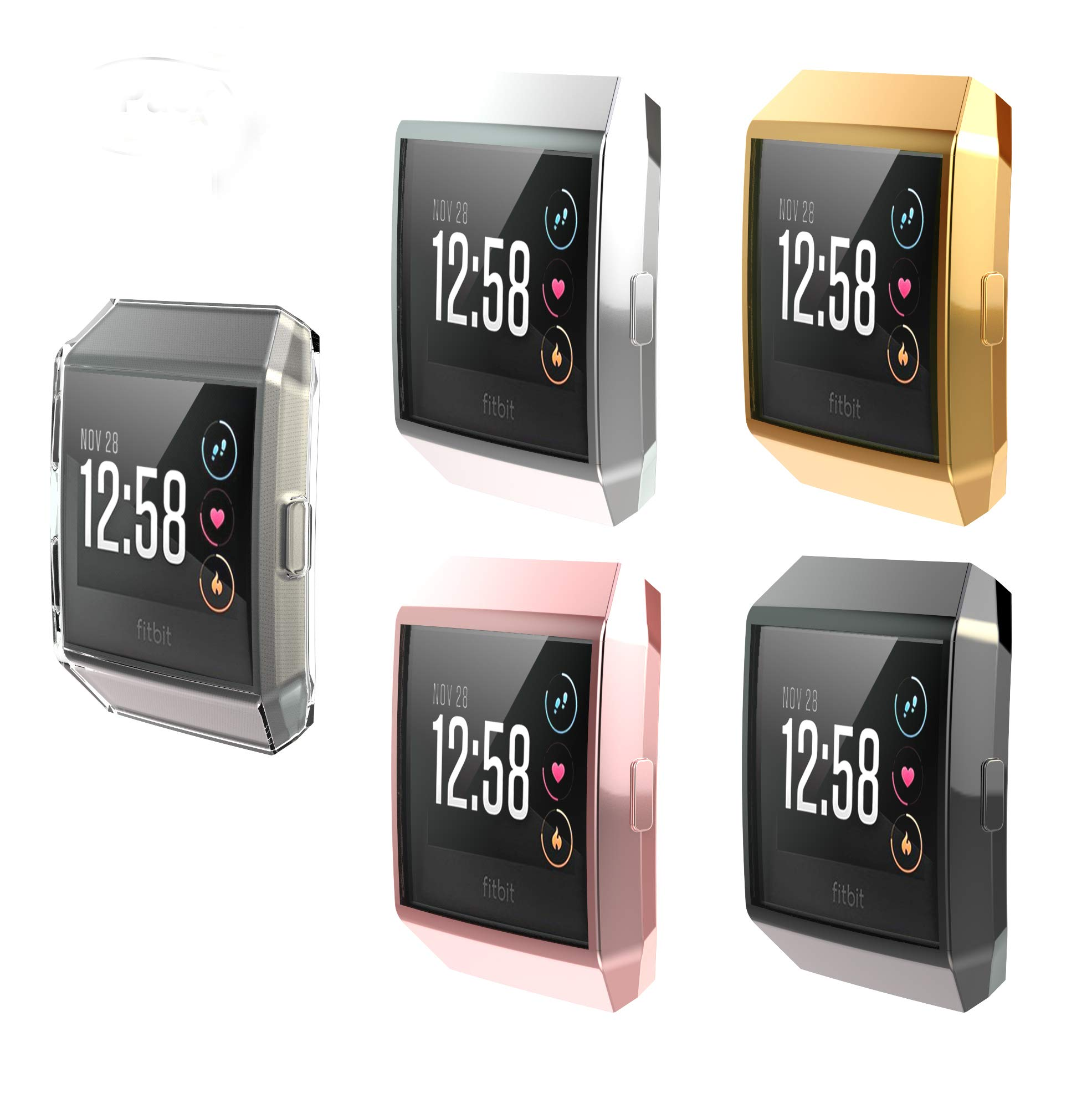 [5-Pack] Fitbit Ionic Screen Protector Case, JZK Scratch-Resistant Flexible Lightweight Plated TPU Fullbody Protective Case for Fitbit Ionic Smart Watch Accessories,Black+Clear+Gold+Pink+Silver by JZK