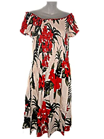 Plus Size Hawaiian RED Flowers Floral Cream Cap Sleeve Sun ...