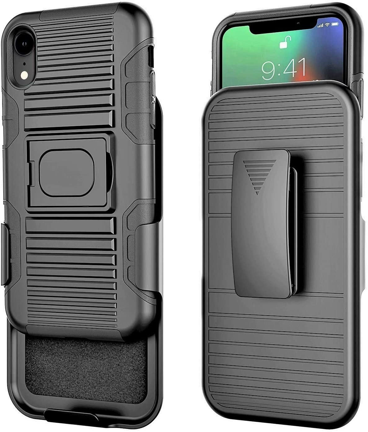 Stronden Holster Case for iPhone XR Belt Case - Holster Case Belt Clip (Rubberized Grip) Slim Fit Protective Cover with Kickstand, Combo Shell Holder for iPhone XR (Black)