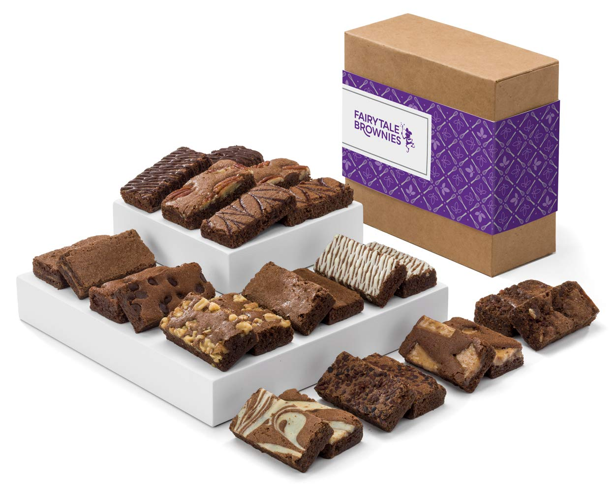 Fairytale Brownies Sprite 24 Individually Wrapped Gourmet Chocolate Food Gift Basket - 3 Inch x 1.5 Inch Snack-Size Brownies - 24 Pieces - Item CF224