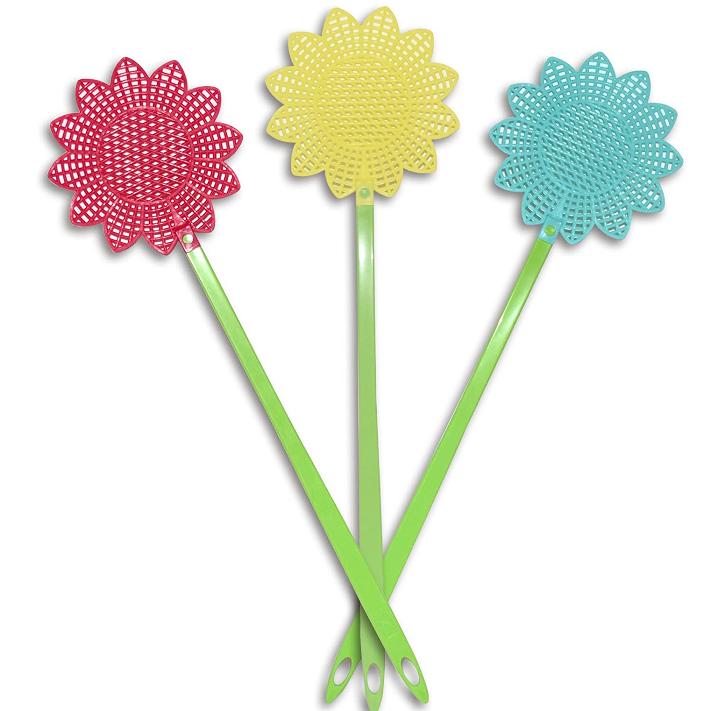 Di-Nesh (660) 3er Set Fliegenklatschen Blumen-Muster bunt Fliegenfalle Fliegenschläger Mückenschläger DI-NESH®