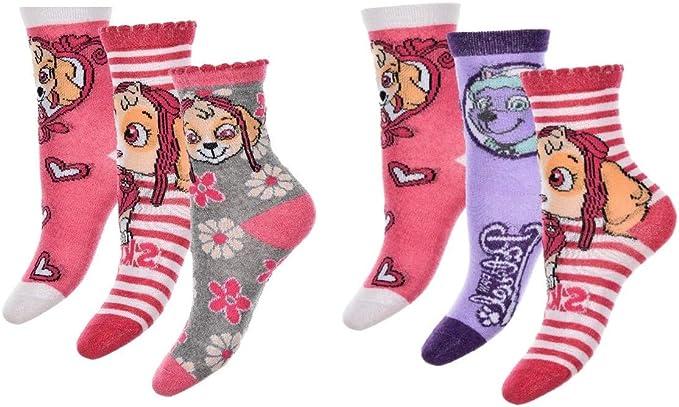 PawPatrol calcetines medias para niños, niñas con Skye y Everest 6-pack nuevo (23/26): Amazon.es: Ropa y accesorios