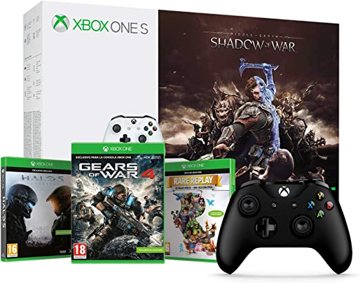 Xbox One S - Consola 1 TB + Sombras De Guerra + Game Pass (1M) + Microsoft - Mando Inalámbrico, Color Negro (Xbox One), Bluetooth: Amazon.es: Videojuegos
