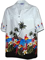 Pacific Legend Men's Parrots Beach Border Hawaiian Shirt