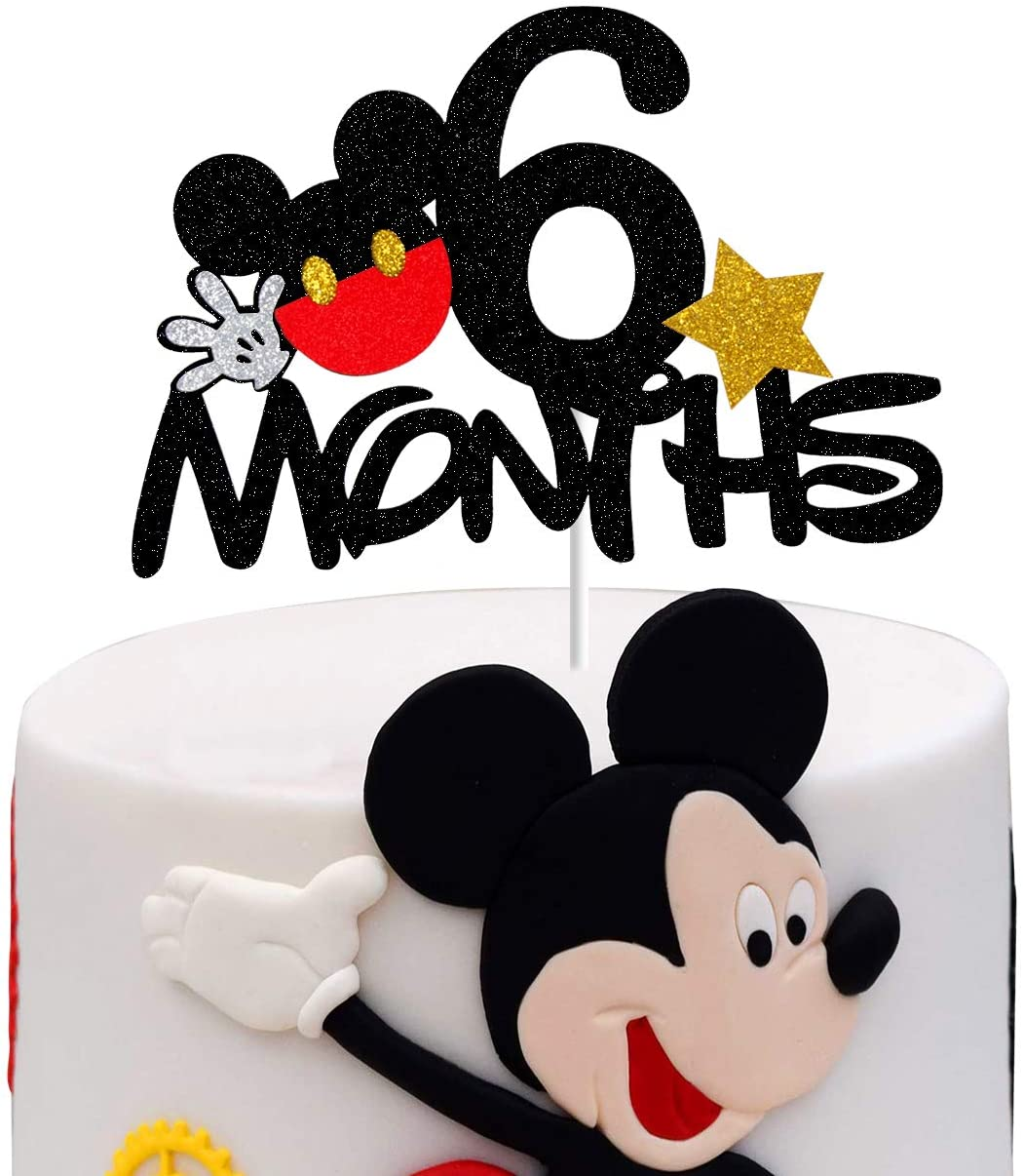 Amazon Com Mickey 6 Months Cake Topper Mouse 1 2 Half Birthday Party Decorations Home Kitchen