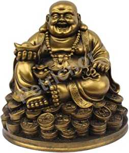 Petrichor Handmade Laughing Buddha Sitting on Lucky Money Coins Carrying Golden Ingot for Feng Shui Good Luck & Happiness (5 inch)