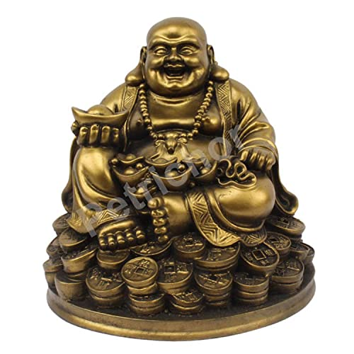 Petrichor Handmade Laughing Buddha Sitting on Lucky Money Coins Carrying Golden Ingot for Feng Shui Good Luck Happiness 5 inch