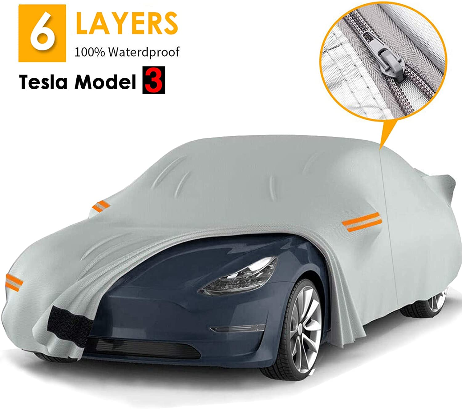 6 Layers Durable Tesla Outdoor Cover All Weather Protection Car Covers with Ventilated Mesh /& Door Zipper Fit for Tesla Model 3 100/% Waterproof Sedan Cover for Tesla Model 3 Big Ant Car Cover