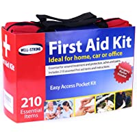 WELL-STRONG 210 Pcs First Aid Kit with Durable and Compact Canvas Bag for Home, Car, School, Office, Sports, Travel…