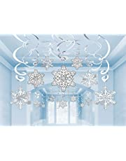 Christmas Snowflake Swirl Hanging Cutout Decorations - Pack of 30