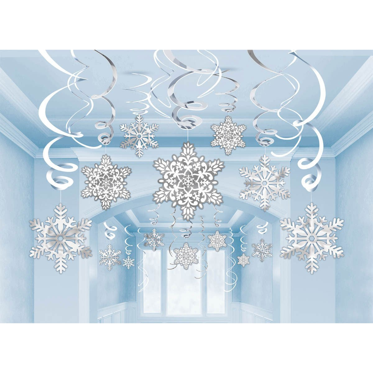 Christmas Snowflake Swirl Hanging Cutout Decorations - Pack of 30 Amscan