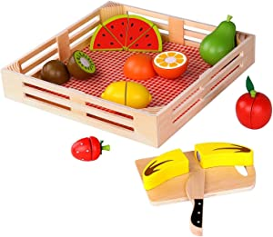 Timy Play Food for Kids Kitchen Wooden Pretend Cutting Fruits Playset for Toddlers